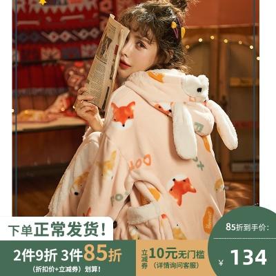 秋冬季加绒可爱少女冬珊瑚绒睡衣