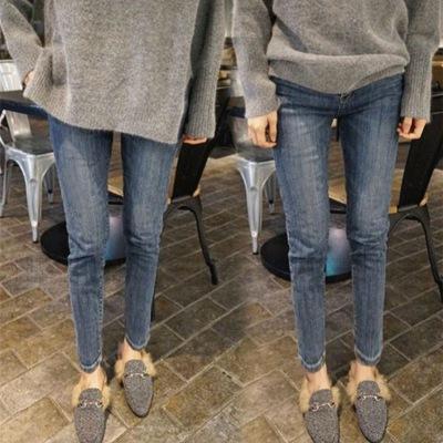 新款韩版加绒弹力高腰冬季牛仔裤