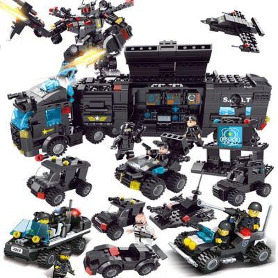儿童益智男孩航母6岁警察拼装玩具