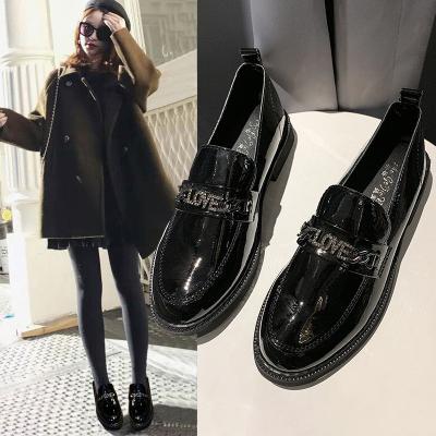 黑色低跟春季2020新款韩版小皮鞋