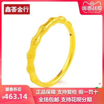 竹节3d硬金999足金纯金女尾戒指环