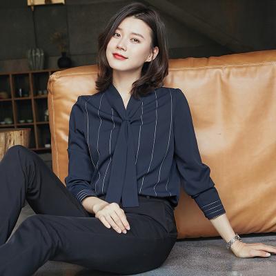 长袖雪纺2020春秋女上衣职业衬衫