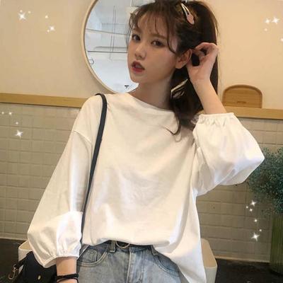 2020初春季长袖韩版chic白色bf t恤