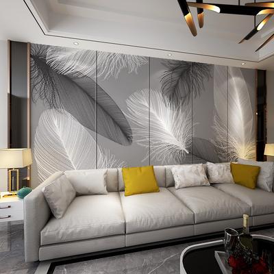 北欧硬包背景墙客厅简约羽毛软包
