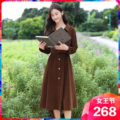 长袖灯芯绒星诺2020春装新款连衣裙