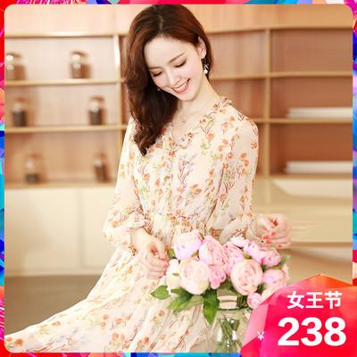 星诺2020新款高端雪纺收腰显瘦长裙
