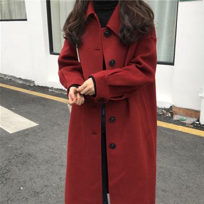 春装双面女中长款a韩版新羊绒大衣