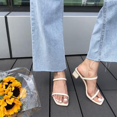 2020夏季韩版性感低跟中跟凉拖鞋