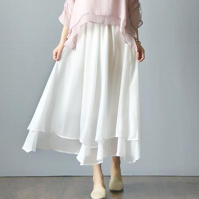 南风谷春夏白色棉麻长裙仙女裙子