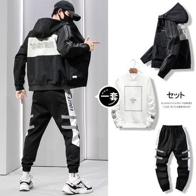 外套男士春秋休闲夹克韩版潮流2020新款春装工装一套搭配帅气套装