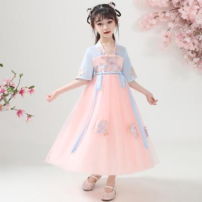 儿童汉服女童夏装中国风童装唐装超仙连衣裙12岁女孩樱花公主古装