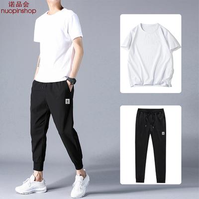 套装男夏季韩版潮流宽松帅气休闲运动一套衣服2020新款短袖九分裤
