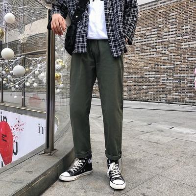春季韩版潮流宽松港风学生直筒裤