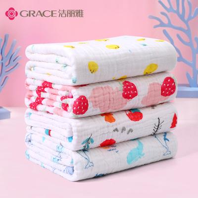 洁丽雅婴儿浴巾纯棉柔软吸水纱布被子宝宝幼儿童新生婴儿薄款夏季