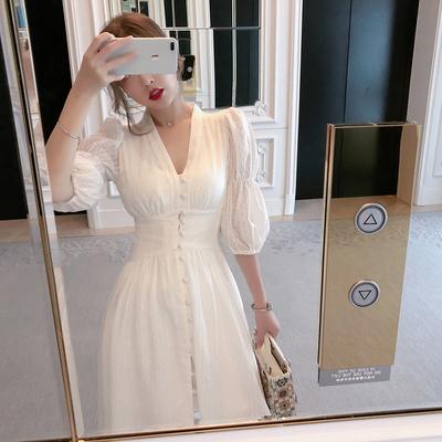 仙女超仙森系长裙夏季到脚踝长款仙气初恋白色连衣裙女气质女神范