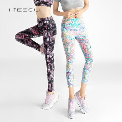美愫印花瑜伽裤健身运动花纹高腰裤女彩色紧身花色踩脚女长裤
