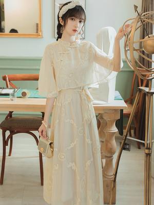 夏季中国风复古遮肚子显瘦气质连衣裙女刺绣仙女长裙少女改良旗袍