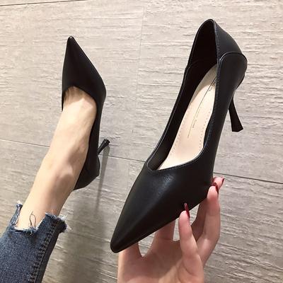 七九一鹿法式高跟鞋女细跟新款韩版百搭尖头职业小码浅口两穿单鞋