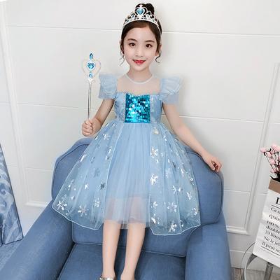 女童连衣裙夏款新款爱莎公主裙子儿童装蓬蓬纱裙爱沙冰雪奇缘洋气