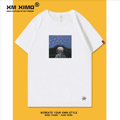 超火宇航员联名nasa夏装短袖t恤男士纯棉宽松白色体恤ins潮牌潮流