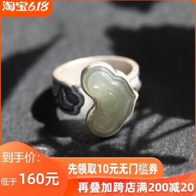 如意纯银饰品手工夸张食指设计师款和田玉石民族风女款转运戒指环