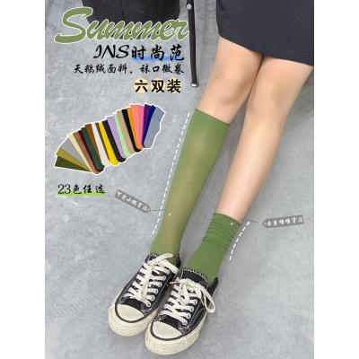 堆堆袜女薄款夏季糖果色长筒袜子女中筒袜天鹅绒网红女长袜ins潮