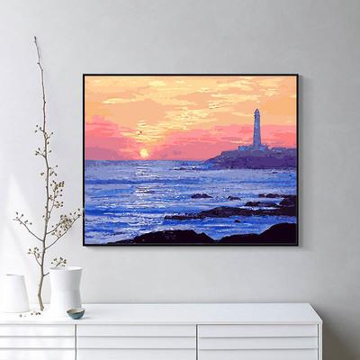 数字diy客厅卧室风景日出夕阳油画