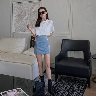 杜屁屁桃半身裙女夏季高腰包臀裙子性感牛仔a字新款显瘦百搭短裙