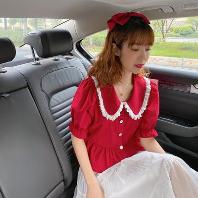 麦枳夏日の热烈娃娃领红色女夏衬衣