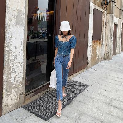 杜屁屁桃高腰牛仔裤女2020夏季新款韩版直筒修身哈伦裤九分裤长裤