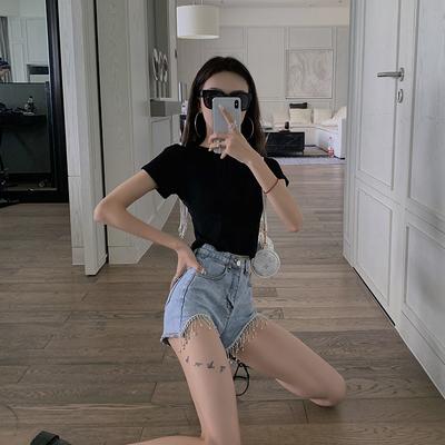 杜屁屁桃牛仔短裤女夏季新款网红高腰显瘦宽松亮钻重工流苏热裤潮