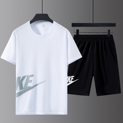 情侣男士五分裤短袖t恤夏季跑步健身薄款速干休闲新款运动套装男