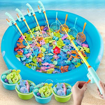 钓鱼玩具儿童磁性鱼男女孩捞鱼池宝宝鱼竿益智磁力套装1一3岁小孩