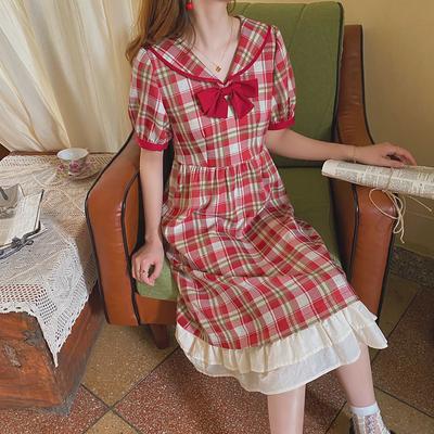 麦枳 草莓奶昔 红格子蝴蝶结连衣裙女夏娃娃领拼接裙摆收腰裙子