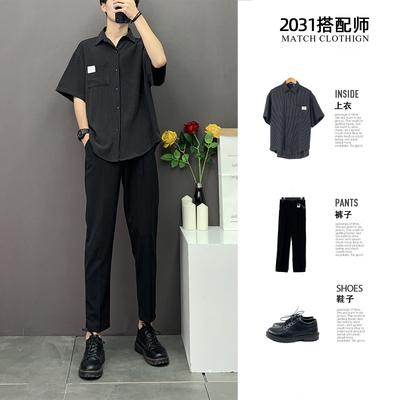 2020夏季新款青少年精致韩版港风ins宽松休闲短袖衬衫条纹衬衣