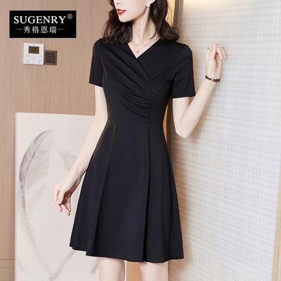 连衣裙2020新款夏女装黑色修身显瘦赫本小黑裙v领时尚气质a字裙子