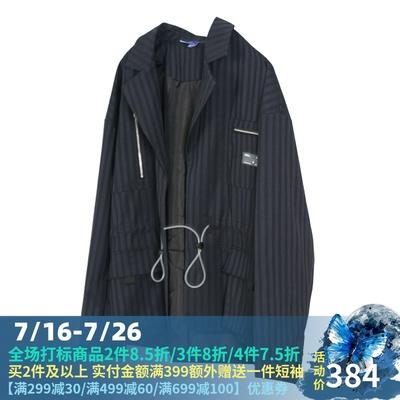 OBSERVER暗条纹机能潮牌黑色西装男落肩宽松设计韩版上衣休闲外套