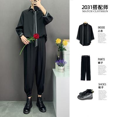2020新款简约春夏装纯色宽松大码港风男士七分袖衬衫青年男上衣