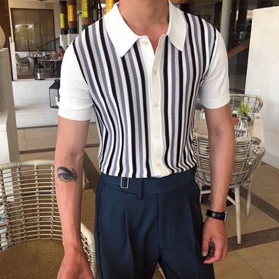 鹿三先生个性条纹POLO衫短袖开衫夏季轻熟翻领英伦风日常休闲潮男