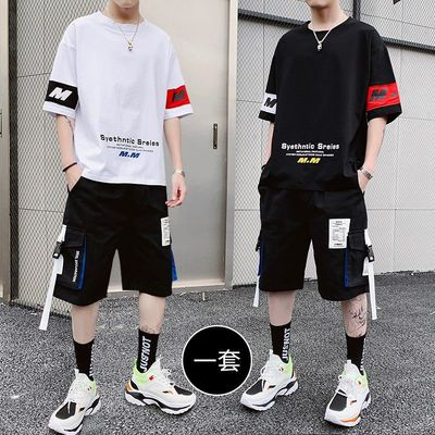 男士夏季短袖t恤套装韩版潮流一套夏装潮牌搭配帅气卫衣休闲衣服