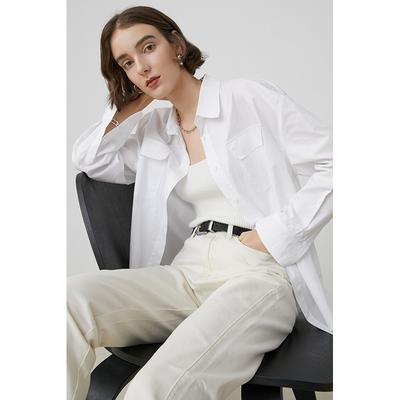 范洛 2020秋季简约气质翻领工装口袋宽松百搭白紫两色长袖上衣女