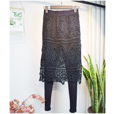 蕾丝连裤裙女莫代尔薄款黑色显瘦带裙子的裤子外穿假两件打底裙裤