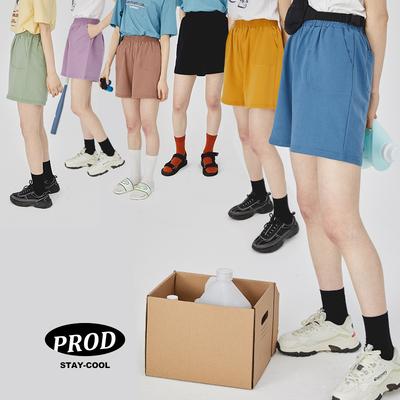 PROD夏糖果色纯棉三分裤 高腰百搭宽松休闲小短裤外穿 学生运动裤