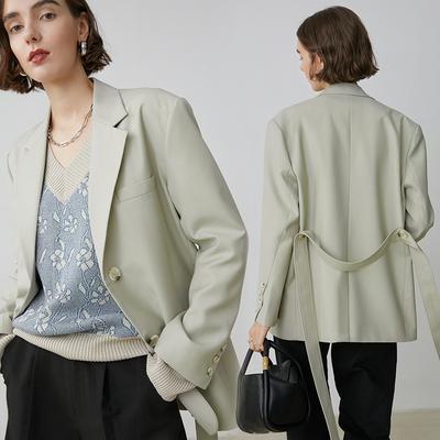 范洛2020秋季新款腰带可拆卸百搭复古宽松廓形两色西服西装外套女