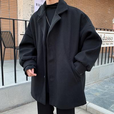 毛呢西装外套男休闲潮牌ins潮流风衣宽松韩版短款呢子大衣男学生