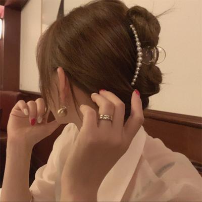韩国ins珍珠发夹边夹少女后脑勺抓夹发卡头饰2020年新款网红顶夹