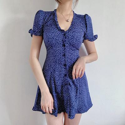 夏V领木耳边单排扣印花短裙收腰A字显瘦碎花桔梗裙法式少女连衣裙