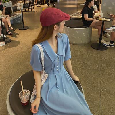 麦枳 复古小姐姐 中长款气质高腰连衣裙女夏后系带收腰垂感裙子