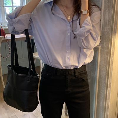最小的海 韩版夏季新款时尚百搭宽松休闲简约纯色翻领长袖衬衫女