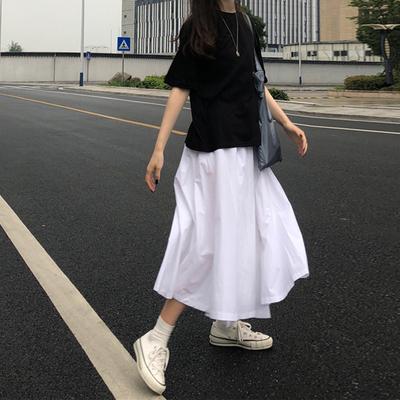 自制日系白色半身裙中长款a型垂感工装学院风复古赫本风大摆伞裙